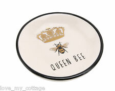 Fabulous Queen Bee Gold Crown Ceramic Jewellery Ring Dish Gold Boxed Gift