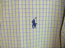 Ralph Lauren Yarmouth Pinpoint Oxford Check Shirt White Blue Yellow Sz 17 36/37
