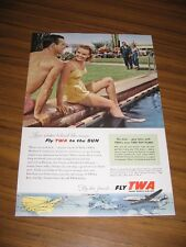 1954 Print Ad TWA Trans World Airlines Couple by Swimming Pool