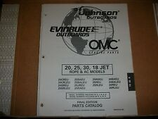 EVINRUDE OUTBOARD MOTOR BOAT ENGINE 20, 52, 30, 18 JET ROPE & AC  Illust. parts