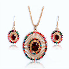 18k Gold Plated Crystal Multicolor Hollow Oval Necklace Earrings Jewelry Set