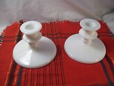 White MILK Glass~CANDLE STICK HOLDERS~Set of 2~Unbranded
