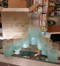 Vintage MCM West Virginia Glass Turquoise With Gold tr Blendo Pitcher & Glasses