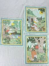 "Lot of 3 Mr Rabbit Fabric Panels Easter 10"" square bunny"