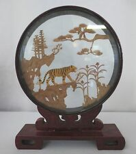 Vintage Chinese Carved Cork Art Diorama ~ Red Mahogany Lacquer Tiger Trees