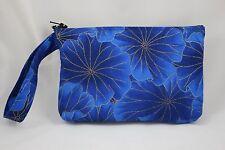 Wristlet Wallet - Card Organizer Pockets - Zip Closure - Lotus Metallic - Blue