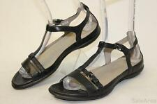 ECCO NEW Womens 39 8 8.5 Black Leather T-Strap Sandals Flats Shoes hg