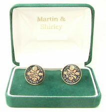 1964 6D cufflinks from real coins in Blue & Gold