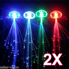 2x LED Hair Extensions Girls Gift Party Bag Clip Pony Tail Fiber Optic Light Up