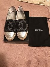 Chanel Canvas Espadrilles 39 US 8 Authentic Flat Shoe Tweed Silver Glitter
