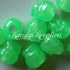 100 Lime Green Glow in the dark Skull pony beads for kandi crafts Pirate Jewelry