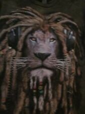 NWT - RASTA LION WITH DREADS & HEADPHONE Size S Green Dye Short Sleeve Tee