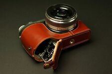 Handmade Genuine real Leather Half Camera Case bag cover for Panasonic GX7 OPEN
