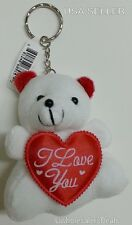 "Soft White Teddy Bear 3"" with Red Heart ""I Love You""  KEYCHAIN Key Chains"