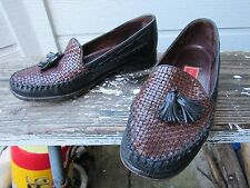 Cole Haan Black Leather Tassel Loafer US 6.5 B Brown Woven Upper CUTE Classic