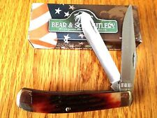 "BEAR & SON CUTLERY LARGE TRAPPER 4-1/8"" KNIFE RED INDIA STAG BONE MADE USA NEW"