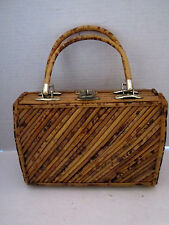 "Unique Vintage Hard Side Bamboo Purse 50s 60s. 2 handle. 9""x7""x3.5"""
