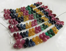 34 pc RUBY SAPPHIRE EMERALD faceted gem stone teardrop briolette beads 4mm - 6mm