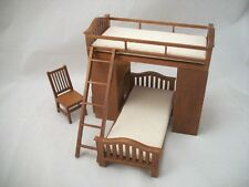 Bunk Bed w/ Chair & Desk  dollhouse miniature 1/12 scale wooden furniture T6251
