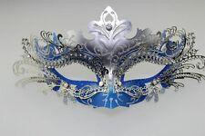 Blue Venetian Metal Filigree Masquerade Party Mask Laser Cut with Rhinestones