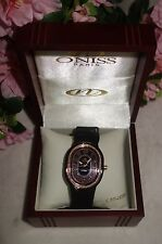 Oniss Paris Ceramic Watch Saphire Crystal Swiss Movement black /gold new $795