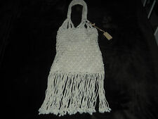 RALPH LAUREN OFF WHITE FRINGE TOTE, 1970s INSPIRED DESIGN.   MINT CONDITION