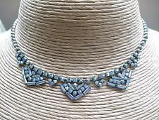 Sparkling Vintage Blue/Gold Shades Aurora Crystal Necklace