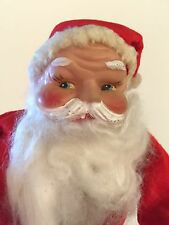 "Vintage 11"" SANTA CLAUS DOLL VINYL RUBBER FACE FUR BEARD RED FELT JAPAN"