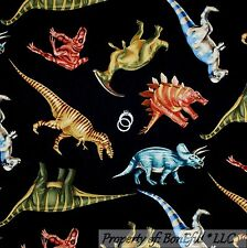 BonEful Fabric FQ Cotton Quilt Large Black Dinosaur Pattern Print Boy Print Baby
