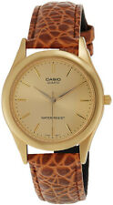 CASIO MTP-1093Q-9A Men's Standard Analog Leather Strap Gold