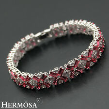 Mother's Day Sale. Hermosa 925 Sterling Silver Cherry Red Topaz Bracelets 7""