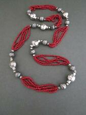 Vintage Faux Coral Glass Silver Plated Necklace