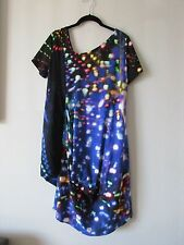 NWT ISCHIKO Asymmetrical Multi Color Short Sleeve Dress Size US 12 Made in Europ