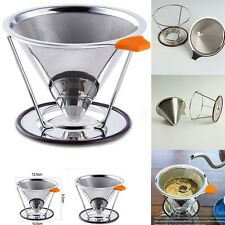 Advanced Pour Over Cone Dripper Reusable Coffee Filter Stainless with Cup Stand