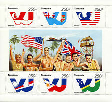 Tanzania 1995 MNH WWII VJ Day 50th Peace Pacific World War II 6v MS Flags Stamps