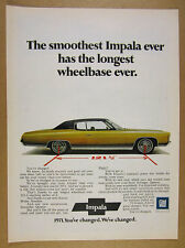 1971 Chevrolet Chevy Impala 2-door Coupe yellow car photo vintage print Ad