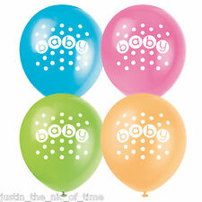 "Baby Shower Unisex Pastello PARTY DECORAZIONI Bambini Bambine 12"" Palloncini in Lattice x8"