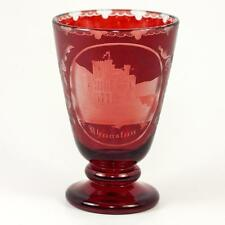 Bohemian Moser Egermann Art Glass Wine Goblet, Rheinstein Castle Ruby Wash c1880