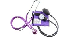 New Aneroid Sphygmomanometer with Sprague  Rappaport  Stethoscope *CE* Purple