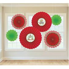 6 x Christmas Paper Fans Red & Green Hanging Party Decorations Winter Friends