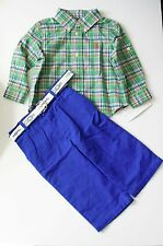 Ralph Lauren Baby Boys Plaid Long Sleeve Shirt & Belted Pants Set Sz 6M - NWT