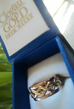Clogau Early Welsh 9ct Rose & Yellow Gold Celtic Weave Ring  -  Size Q
