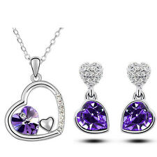Diamante Bridal Purple Jewellery Hearts Set Drop Earrings Necklace Pendant S635