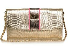 PAULS BOUTIQUE CASSIE GOLD PINK SNAKE CHAIN CLUTCH BAG £50!