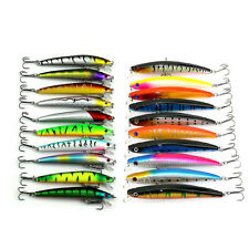 20pcs 3D Eye Assorted Minnow Fishing Lures Bass Crankbaits Sharp Hooks Tackles