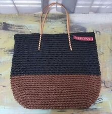 NWT New Merona Target Straw Paper Tote Bag Purse Brown Black $29.99 Retail