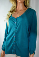 WHITE HOUSE BLACK MARKET Teal Cardigan Sweater trimmed w Crystal Nickel Snaps XL