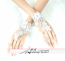 Bridal wedding short lace gloves with rainbow crystal ivory adjustable lace back