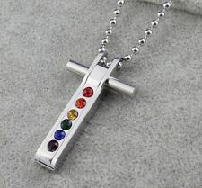 GAY LESBIAN PRIDE RAINBOW FLAG STAINLESS STEEL 6 CZ GEM CROSS PENDANT & NECKLACE