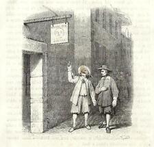 Stampa antica PROMESSI SPOSI Renzo davanti Osteria Luna Piena 1840 Old Print.